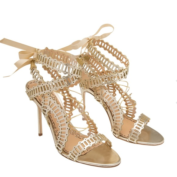 "9720c8ab06 Marchesa ""Sarah"" Gold Leather Strappy Sandals. M_5b04b0e78df4703564de4985"
